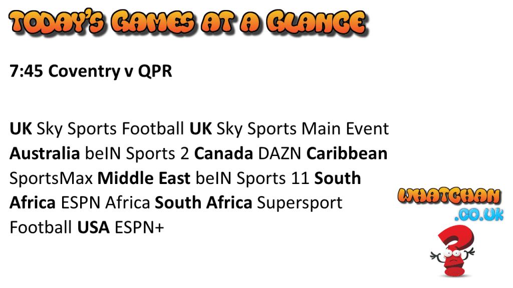 EFL Championship 18/9/2020 Coventry v QPR IPTV Fixtures