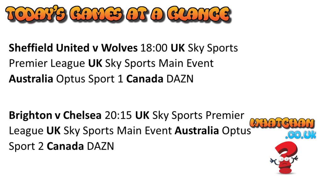 Premier League Fixtures 14/9/2020