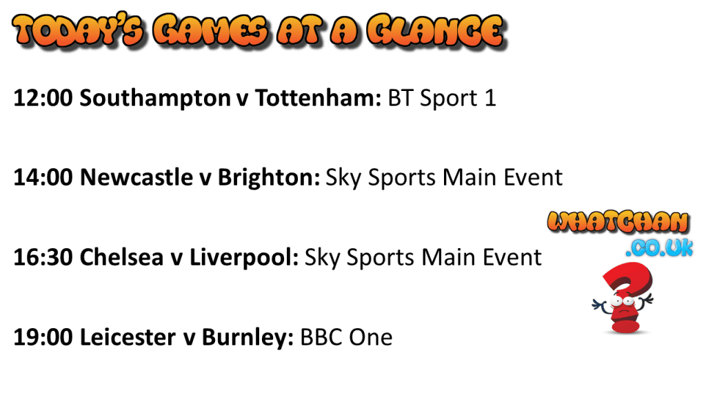 Today's Premier League at a Glance