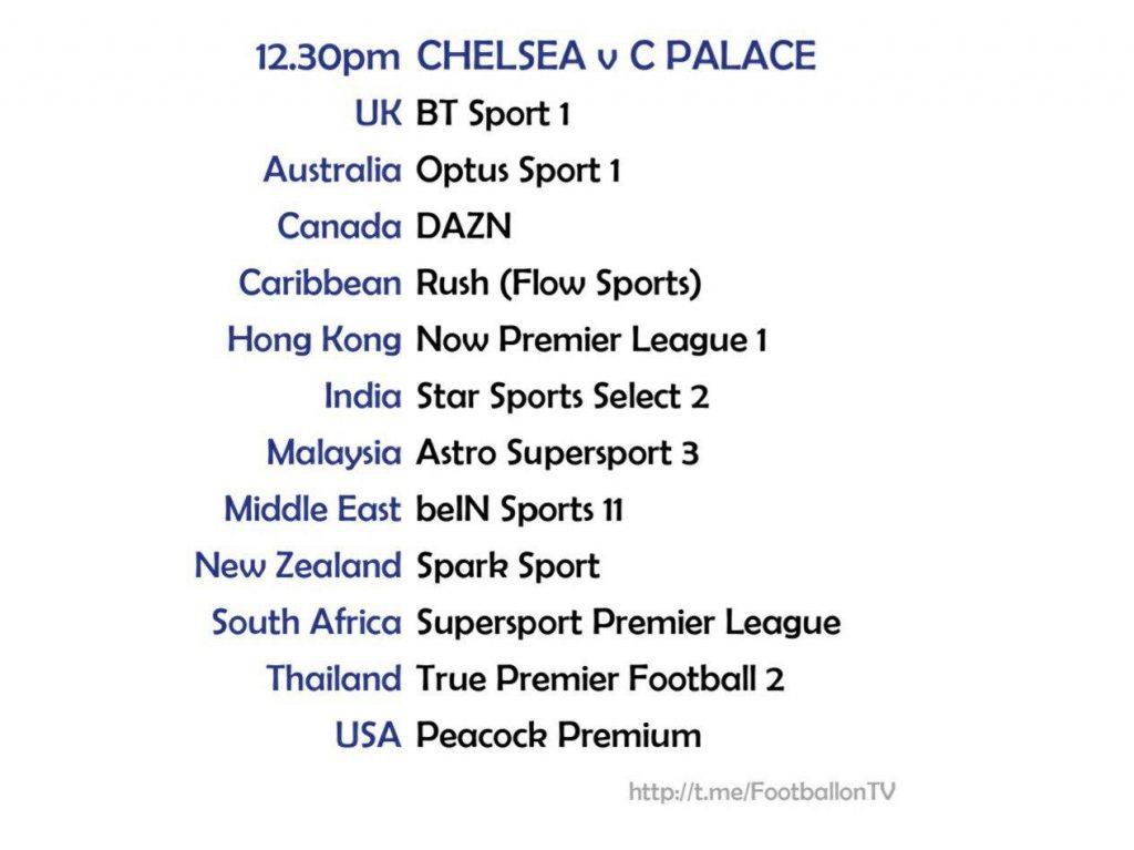 Premier League 3/10/20 Chelsea v Crystal Palace