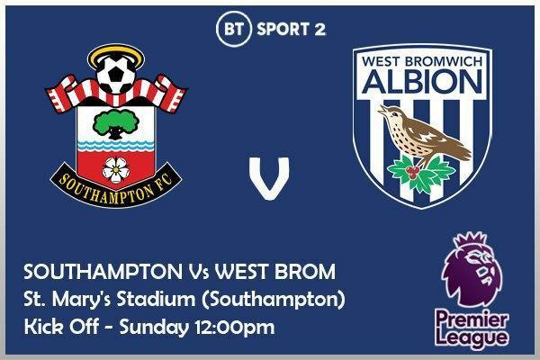 Premier League 4/10/20 Southampton v West Bromwich Albion