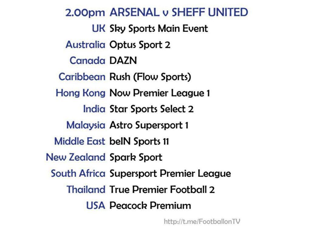 Premier League 4/10/20 Arsenal v Sheffield United