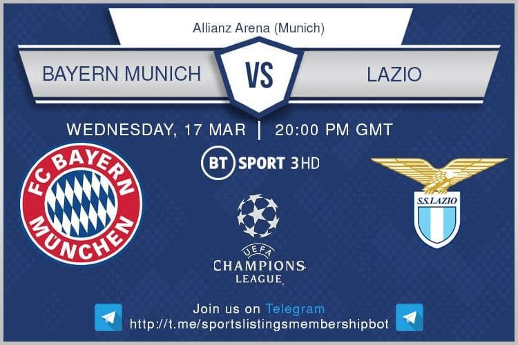 Premier LEague & Others 17/3/2021 Bayern Munich v Lazio - BT Sport 3 / Optus Sport 2 / beIN Sports 2 English