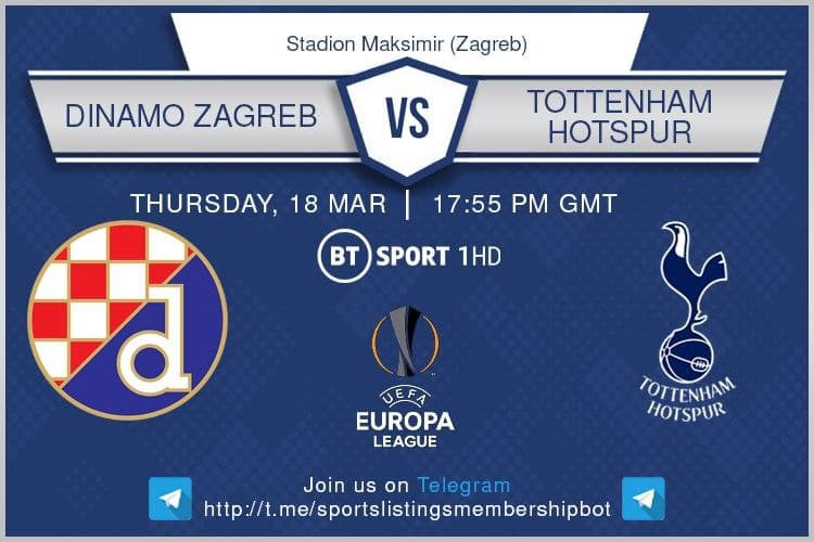 Europa League 18/3/2021 - 17:55 Dinamo Zagreb v Tottenham Hotspur