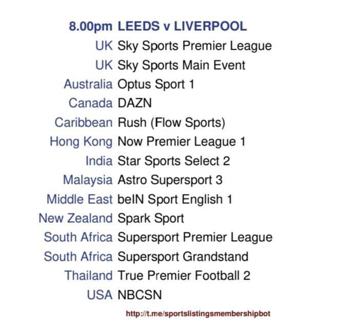 Leeds United v Liverpool - Detailed Channel Information