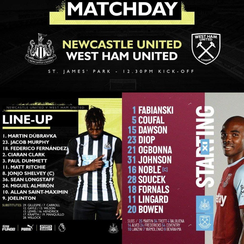 Premier League & Others 17/4/2021 Newcastle v West Ham - Team News