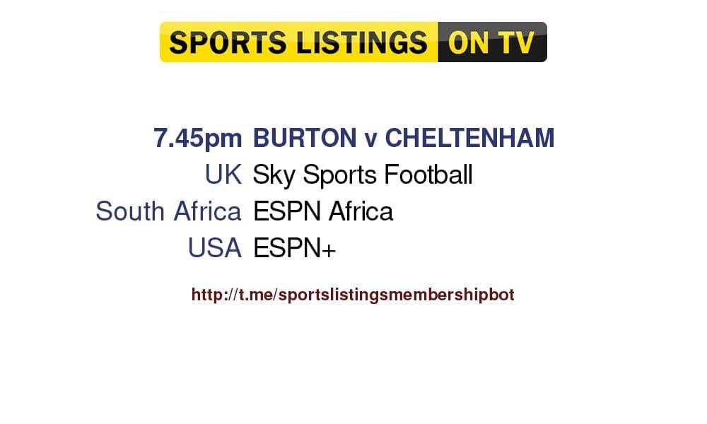 Football 27/8/2021 Burton v Cheltenham