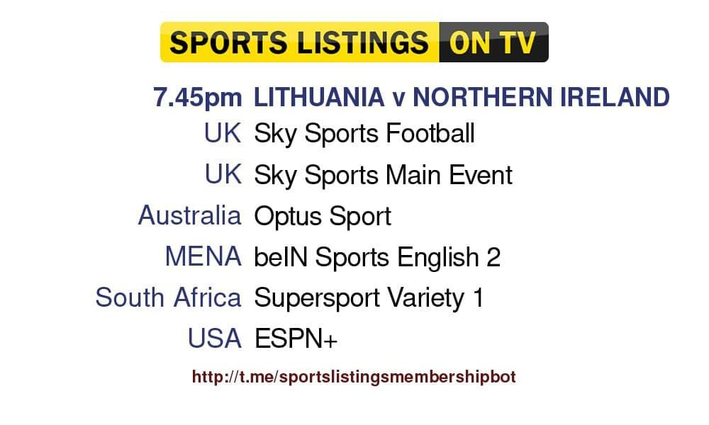 World Cup Qualifiers 2/9/2021 -Lithuania v Northern Ireland detailed