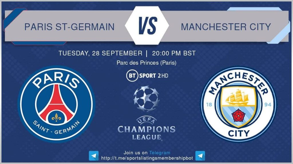 Champions League 28/9/2021 - PSG V Manchester City