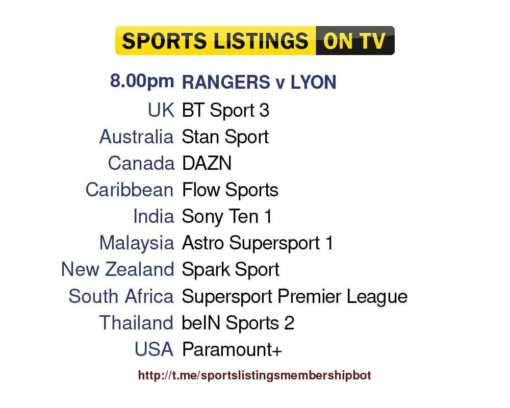 Europa League 16/9/2021 - Rangers v Olympique Lyonnais